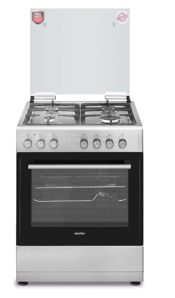 Simfer 60X60 Full Safety, 4 Gas Multifunction Electric Oven Euro Pool Burners With Safety, Timer  + Rotisserie   With 0+9 Functions, Turbo Fan, 1 Tray, 1 Grid, Glass Top Lid, Oven Lamp, Hob And Oven Ignition, Turnspit, Cast Iron Grid,