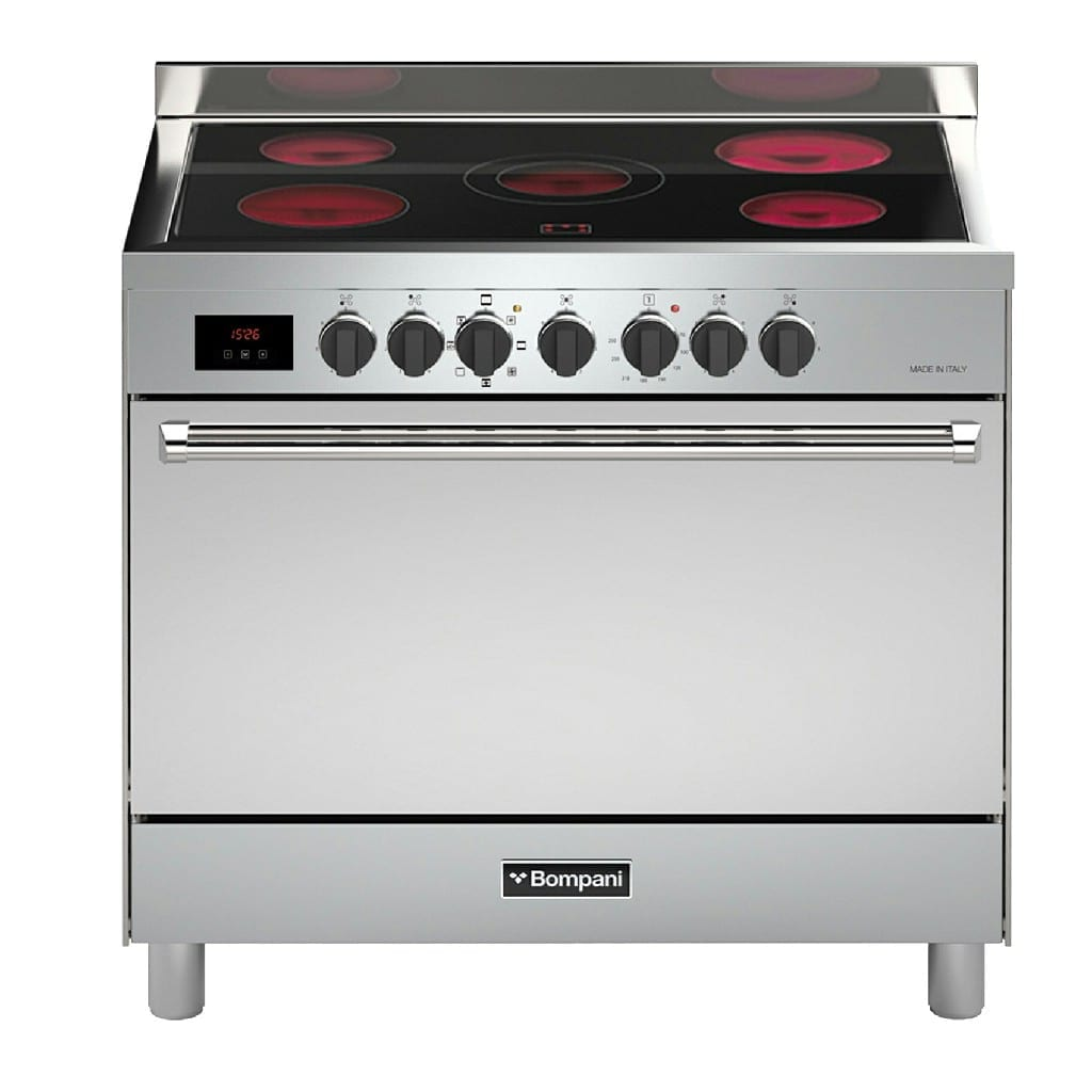 Bompani 90/60Cm Full Electric Ceramic Cooker Stainless Steel Body Made Italy