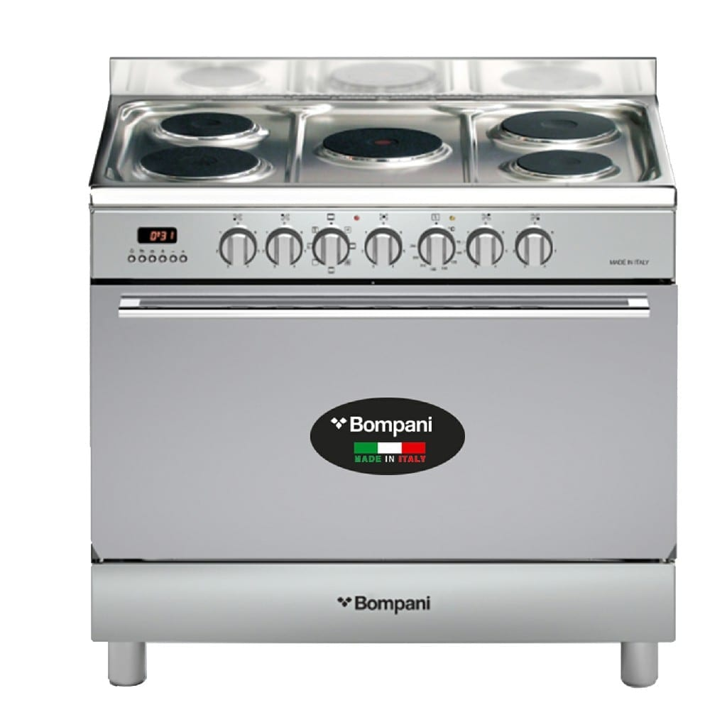 Bompani Cooker 90/60 5 Hotplate Electric Oven Stainles Steel Body With Fan,  Made In Italy