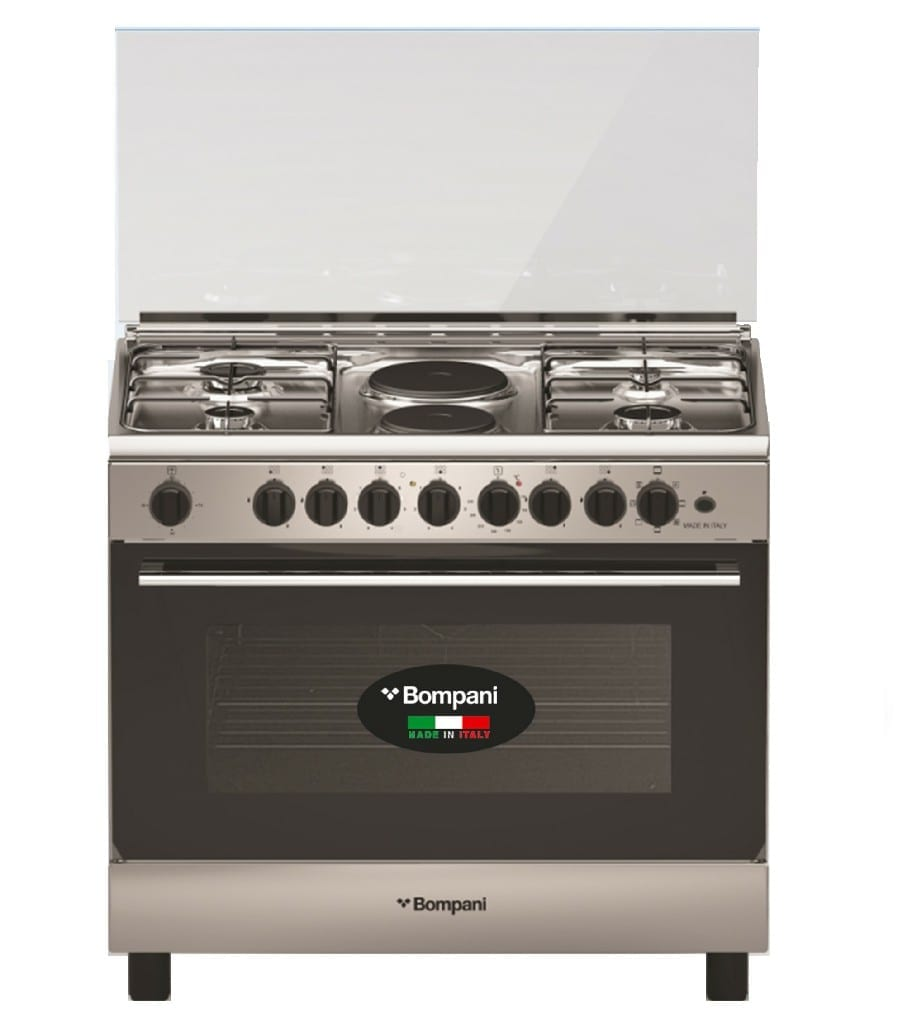 Bompani 5 Gas Burner90X60Cm Cooker, Electric Oven, Electric Grill,Cast Iron, With Safety, Lid , Stainless Steel, Made In Italy