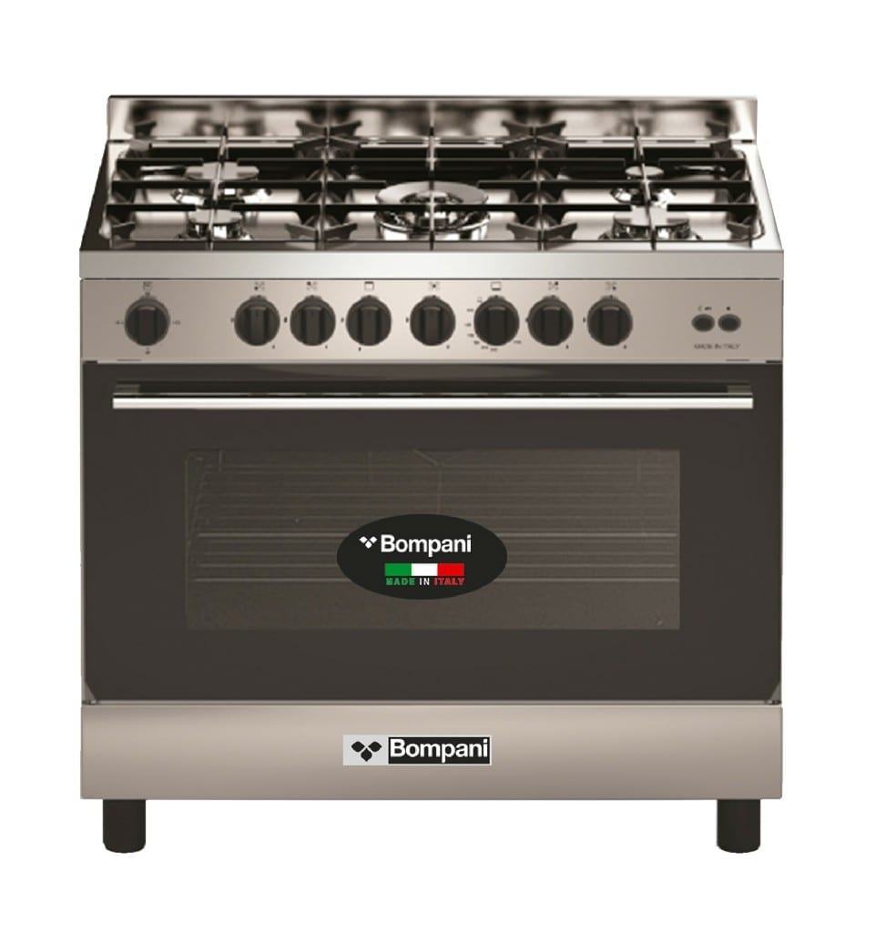 Bompani 5 Gas Burner, Gas Oven, 90X60Cm  Cast Iron With Safety Hob. Cooker Full Gas, Made In Italy