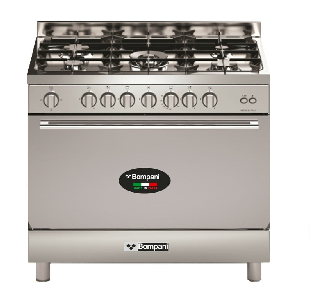 Bompani Cooker 90X60Cm Fullgas. Gas  Oven With Fan,Cast Iron,  With Safety,   With Lid, + , Oven Lamp, Silver Color Made In Italy