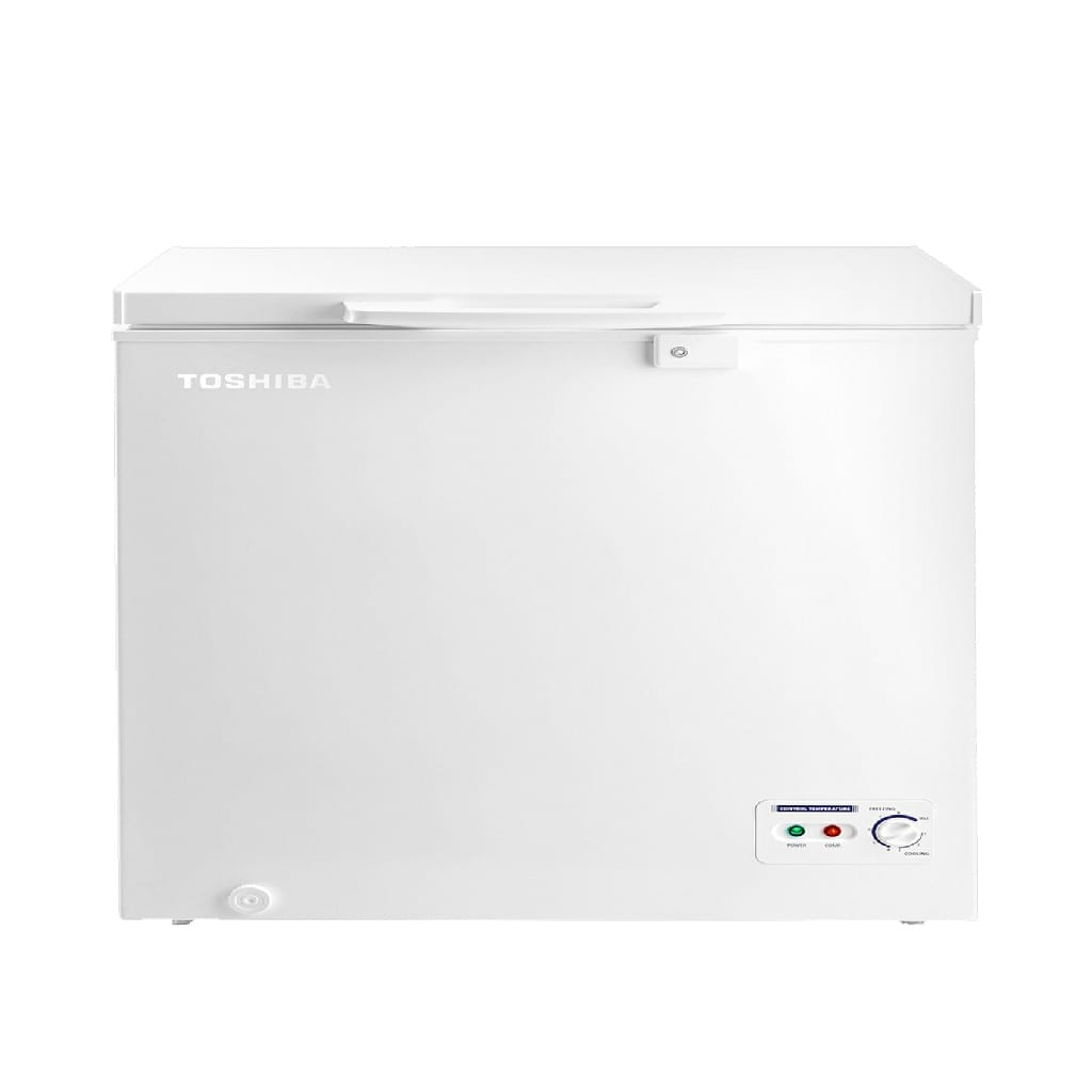 Toshiba Chest Freezer, 290 Ltr Capacity, Freezing Mode, Cooling Mode, Grip Handle, Safety Key, Led Lighting, Removable Storeage Basket, White Color Dimension  ( W * D * H ) 112 * 72 * 85 Cm
