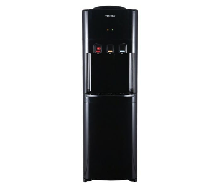 Toshiba Water Dispenser Top Loading, Hot. Cold And Normal Water 20Ltr Big Cabinet Child Safety Lock Black Color