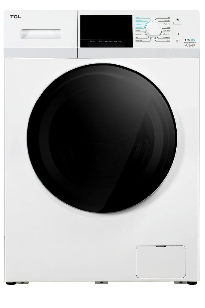 Tcl 8Kg Front Loading, 8Kg Washer And 5Kg Dryer, Inverter, Led Display,220-240V/50Hz, 1400Rpm,White Colour, Single Water Inlet, With Pump, Universal Motor, Bs Plug    (W * D * H)60 * 60 *85
