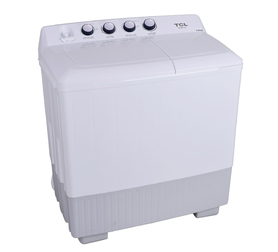 Tcl 14/Kg Twin Tub Washing Machine 7.5Kg Spinning Capacity, White Colour, 220-240V/50Hz, Single Water Inlet, Without Pump, Non-Transparent Top Lid