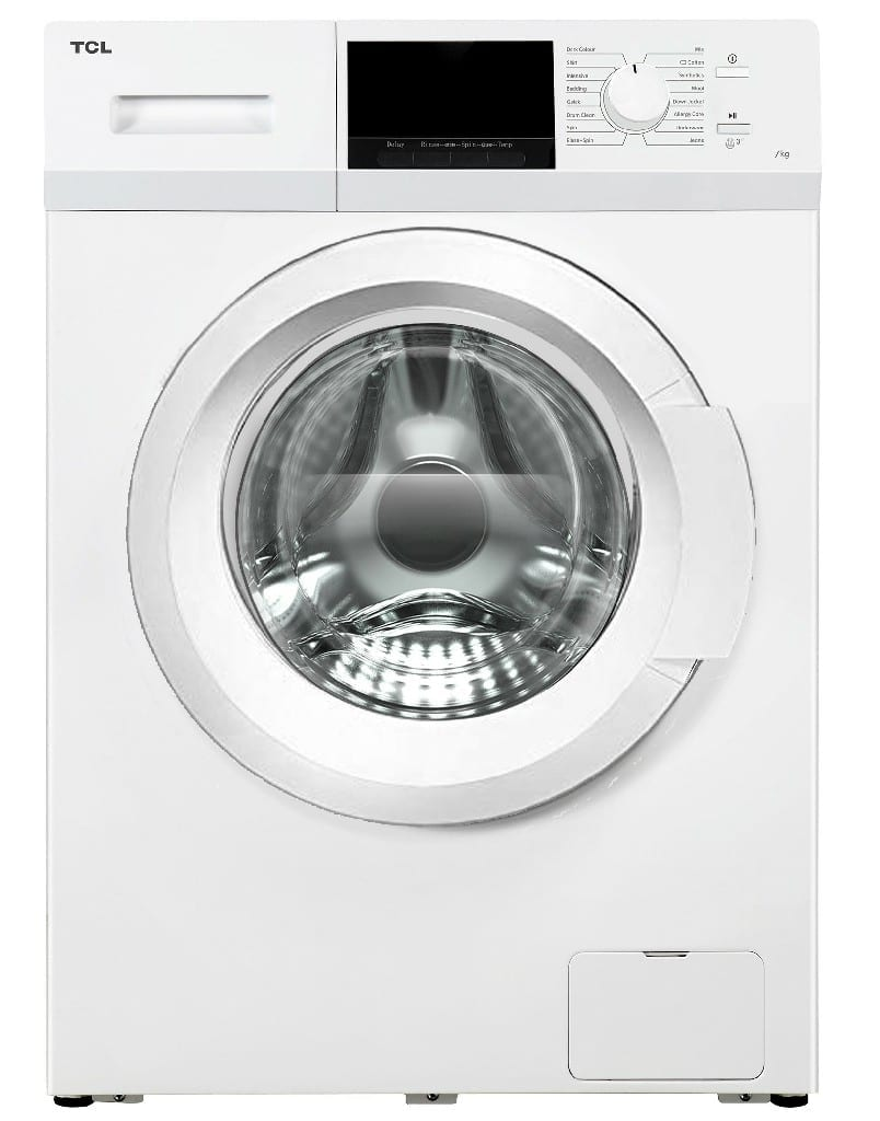 Tcl 7Kg Front Loading Washing Machine, 220-240V/50Hz, White Colour, Single Water Inlet, With Pump ,Universal Motor, Bs Plug   (W * D * H)60 * 60 *85