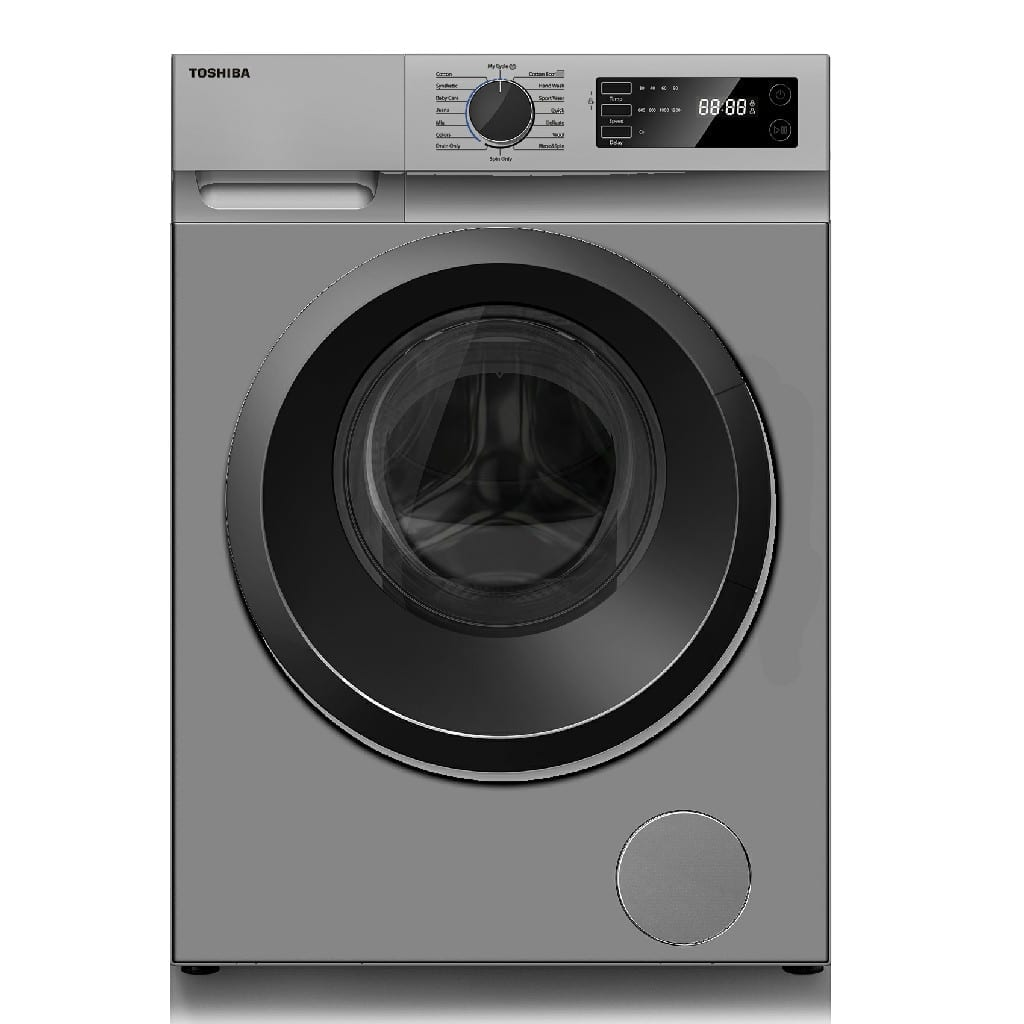 Toshiba Front Load Washing Machine 7Kg, Rpm 1200 , Number Of Programmes : 16, Crystal Inner Drum, Ecoo Cold Wash, Silver Color