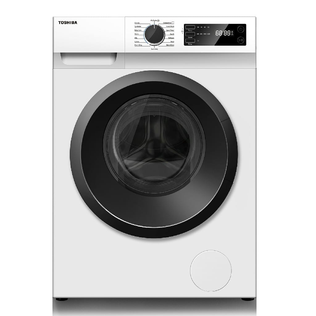 Toshiba Front Load Washing Machine 8Kg, Rpm 1200 , Number Of Programmes : 16, Crystal Inner Drum, Ecoo Cold Wash, 480Mm Wide Door Led Digital Display (Wxdxh) (Mm):  595X600X850
