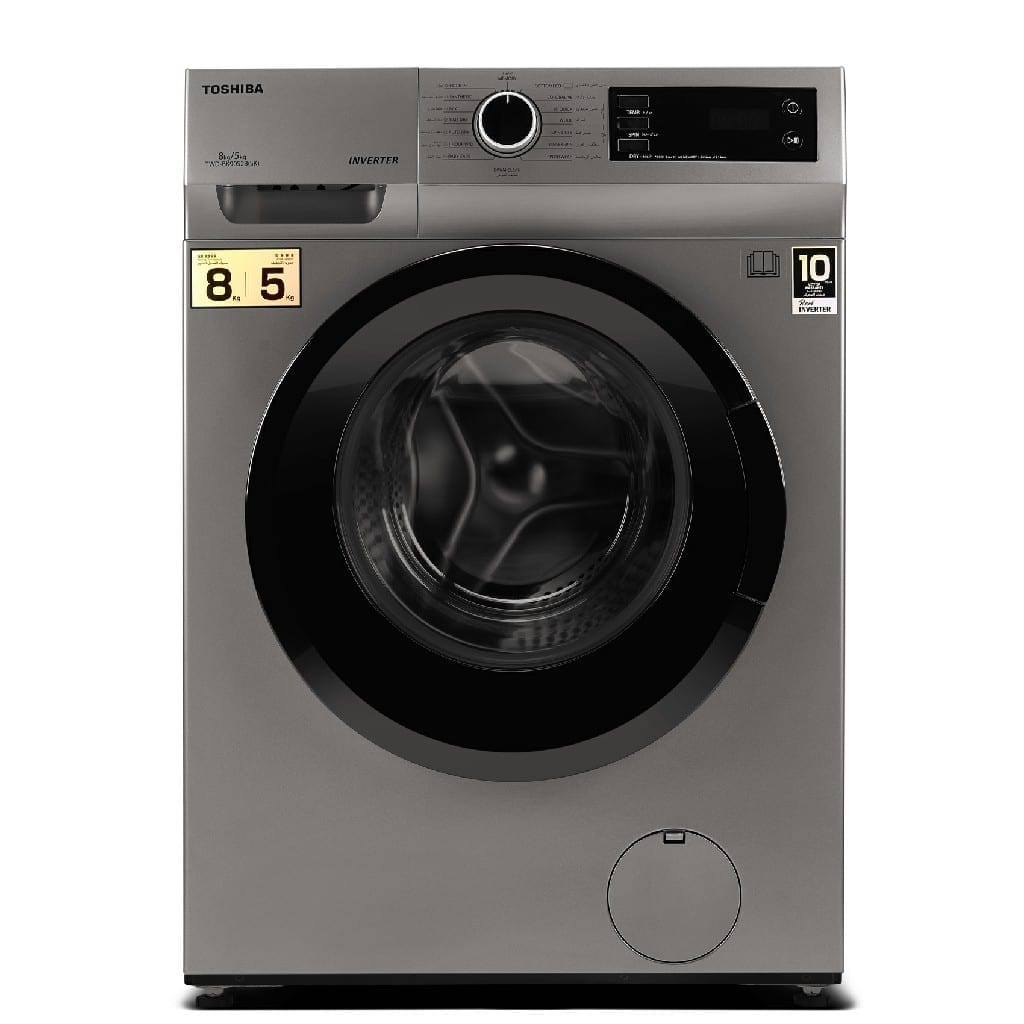 Toshiba  8/5 Washer & Dryer  Silver Color Rpm:1200, Inverter Motor,  10 Year Warranty Baby Care Programme, Quick Wash, Energy Efficiency :A , 595*600*850 (W*D*H)