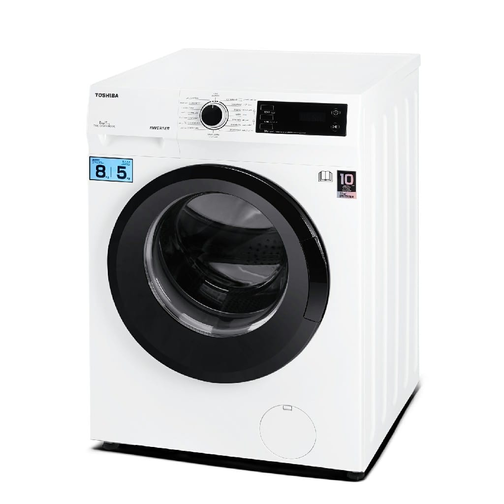 Toshiba  8/5 Washer & Dryer White Color, Rpm:1200, Inverter Motor,  10 Year Warranty Baby Care Programme, Quick Wash, Energy Efficiency :A , 595*600*850 (W*D*H)