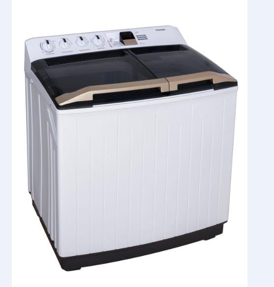 Toshiba Twin Tub Washing Machine 10Kg, Double Water Inlets, Golden Handle, Rust-Free Body Dimension Wxdxh 80 X  47 X 95