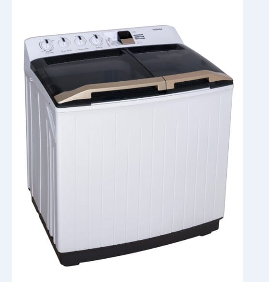 Toshiba Twin Tub Washing Machine 12Kg, Double Water Inlets, Golden Handle, Rust-Free Body  Dimension Wxdxh 90 X 52 X 100