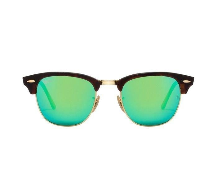Ray-Ban RB3016-1145/19-51 Square Havana Frame & Flash Green Mirrored Sunglasses for Men