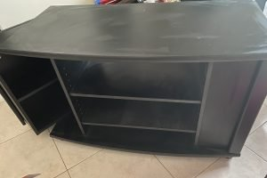 TV cabinet with side closing shelves