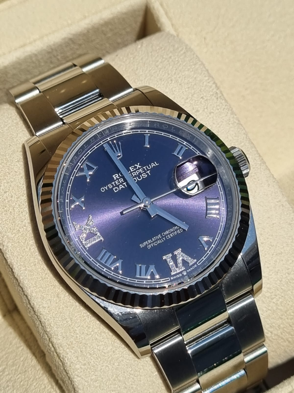 Rolex date just 36mm rare purple dial 2021