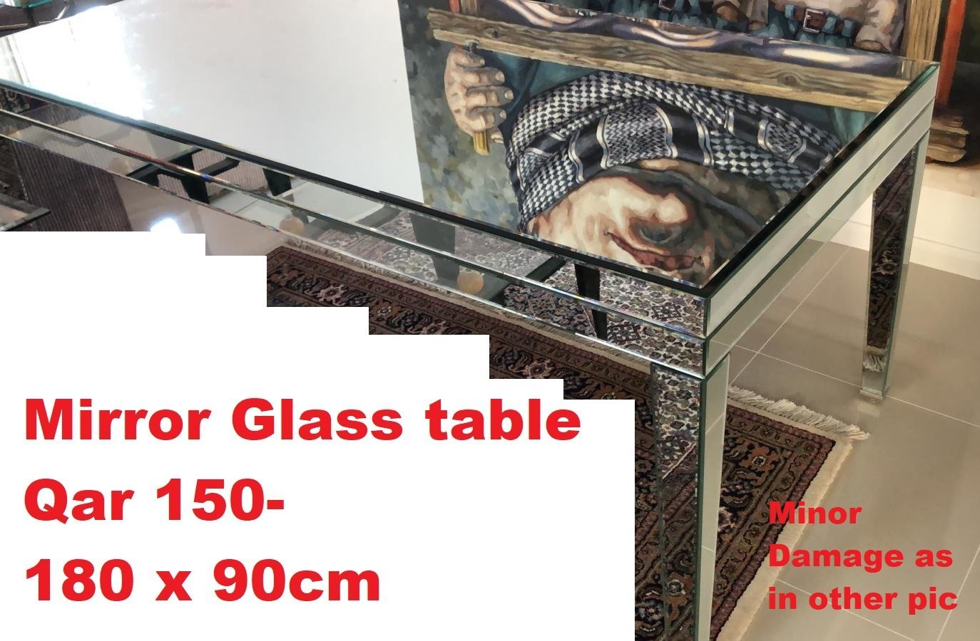 Mirror glass table.  Tiny damage