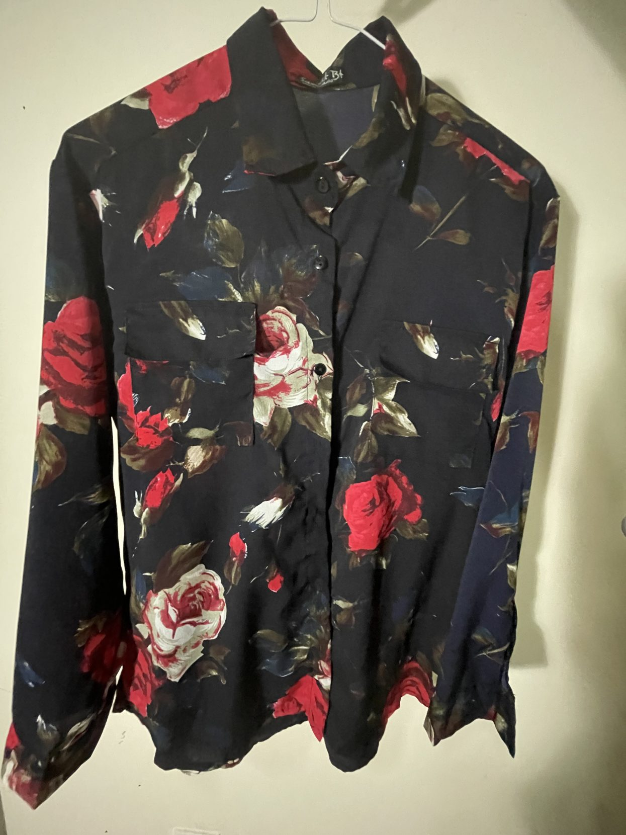 Black Floral Polo Long Sleeves