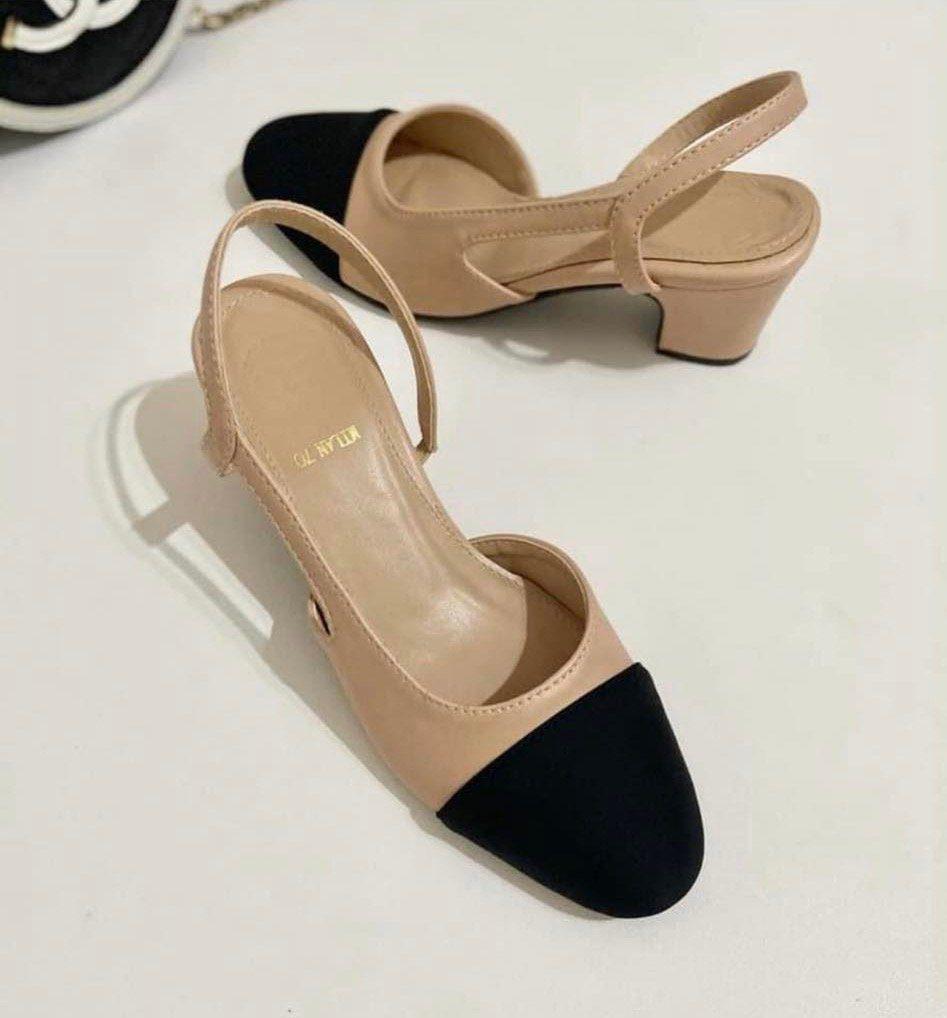Two toned nude slingback heels