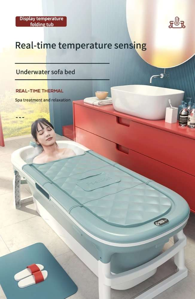 X-Large Portable folding Bathtub for Adults & Childrens with Cover & thermometer
