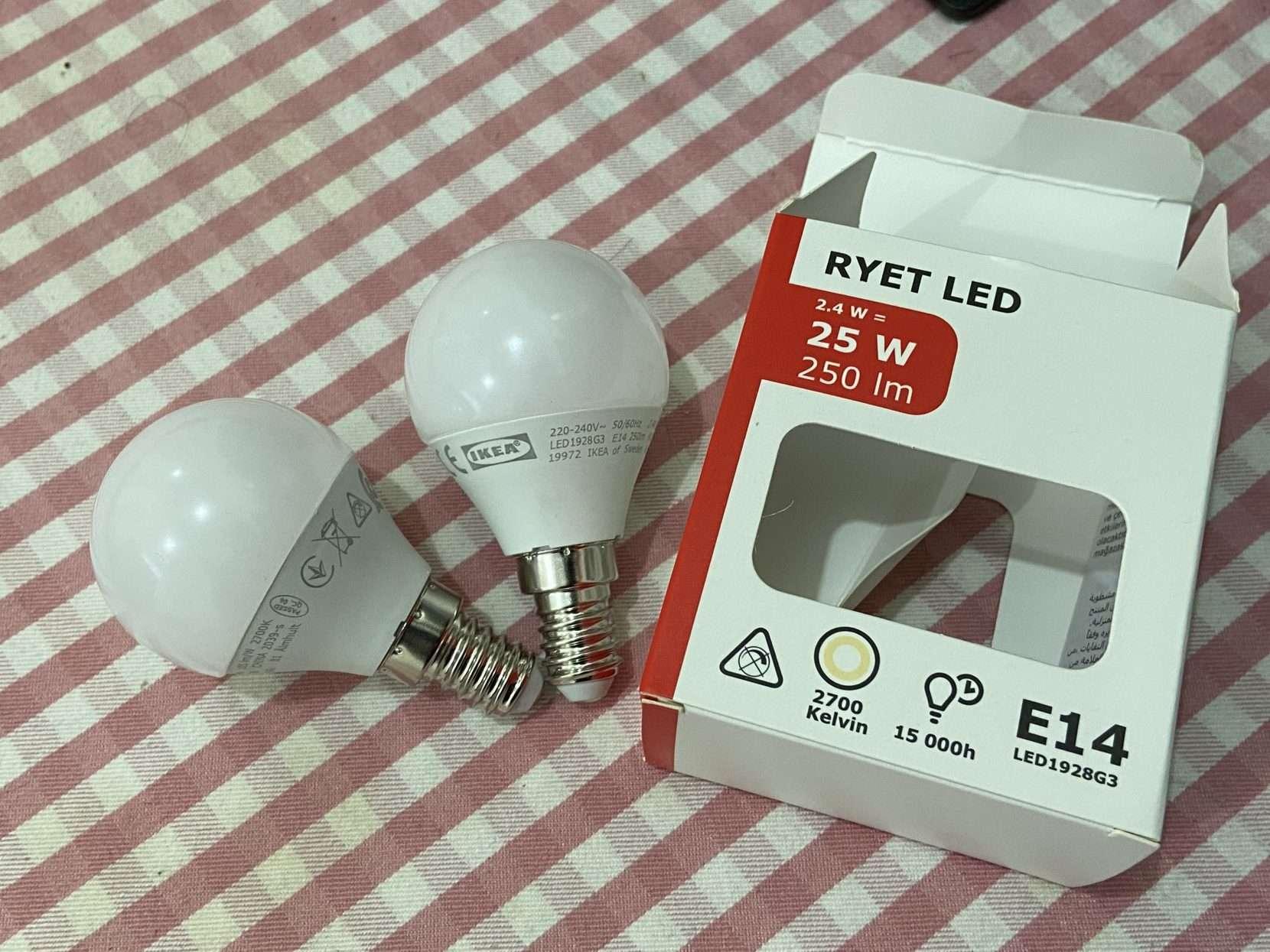 IKEA E14 RYET LED LIGHT x 2 (New & Unused)