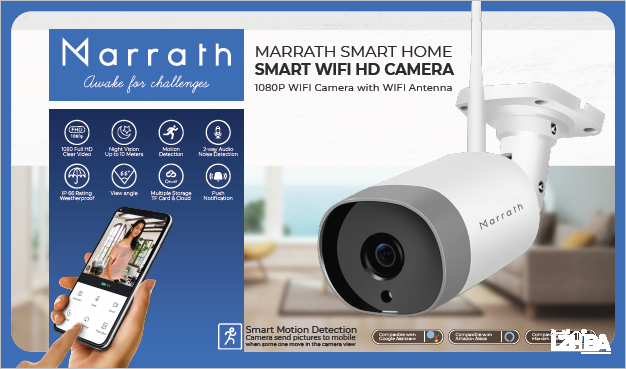 Marrath Smart Home WiFi HD weatherproof indoor / outdoor plug and play CCTV camera with motion detection