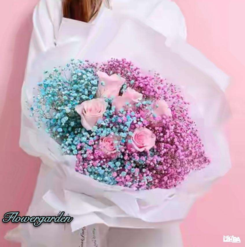 Pink and Blue gypso with Pink Rose Bouquet
