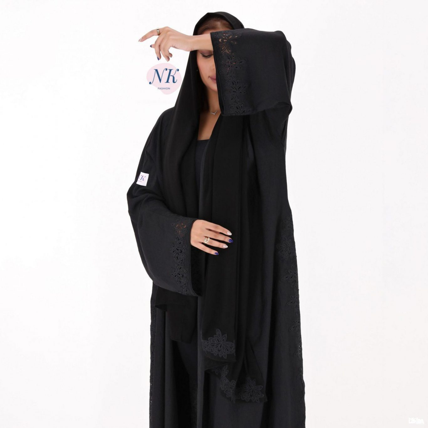 Black Abaya with a Small Lace