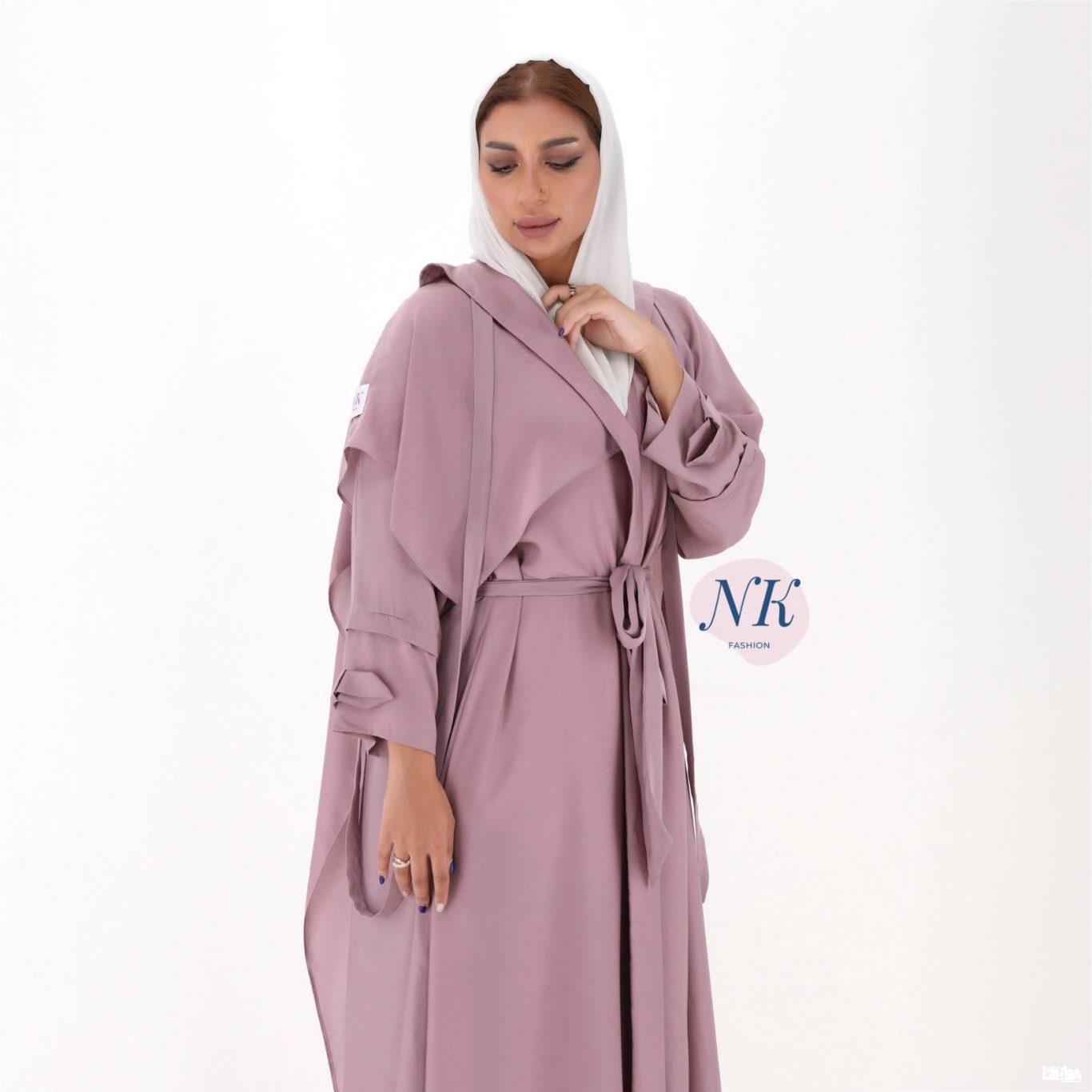 Pink Abaya with White Scarf